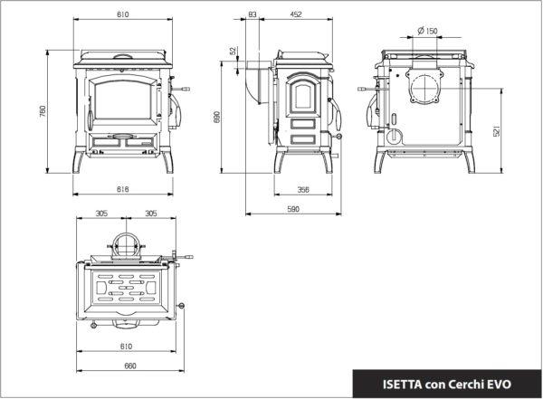 Isetta Con Cerchi EVO 4.0 - valurautakamiina keittolevyllä